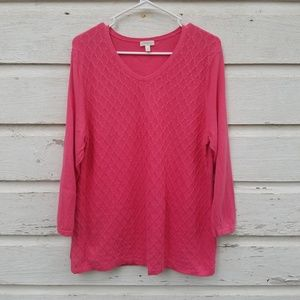 Talbots Outlet Pink Lattice Weave Sweater